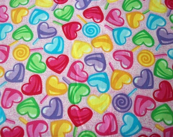 Valentine Candy Hearts Fabric Colorful New By The Fat Quarter BTFQ