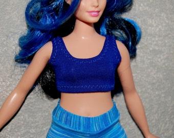 Curvy Barbie Dark Blue sports bra exercise top A4B157 fashionista fashion doll clothes