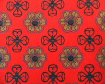 Vintage 70s Red Black and Gold Floral Print  Cotton Fabric Remnant.....1970s Fabric ....  2 Yards...The Gypsy Queen