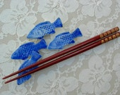 4 Japanese Blue Fish Hashioki (chopstick rests), purchased in Japan