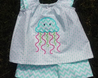 Boutique Girls Embroidered Jellyfish Summer Outfit Girls size 2T, 3T, and 4T (fabric choices available)