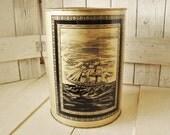 Vintage trash can waste paper basket metal metallic gold black sailing ship galleon 1950s
