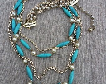 Vintage signed coro turquoise and pearl necklace