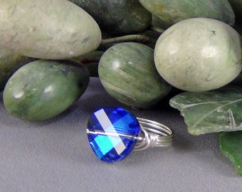 Wirewrapped Ring  - 14mm Bermuda Blue Twist Swarovski Crystal, Sterling Silver, Round Wire - Size 7.75 - Hand Crafted Artisan Jewelry