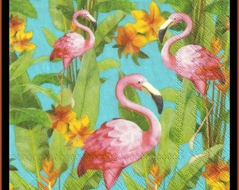 Decoupage Paper Napkins With Flamingos - Use For Decoupage, Scrapbooking