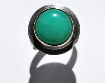 Luminous Australian Green Chrysoprase Sterling Silver Statement Ring, Size 8