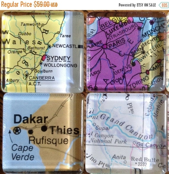 ON SALE Destination Wedding favors Glass Fridge Magnets World Maps set of 12, 1""