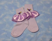 Reserved for naomilynns - Lavender -  Ribbon Edged with Rose for Little Girls - Size 5-6 1/2 (Toddler) - US Shoe Size 3-7