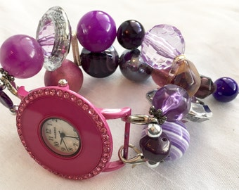 PRE~HOLIDAY SALE!!! Purple Stretchy Chunky Beaded Interchangeable Watch Band