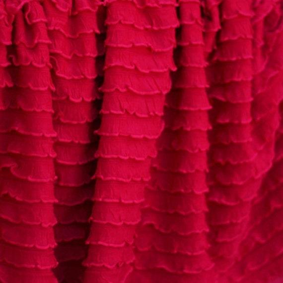 Ruffle Fabric 1/2 Inch Wide Red Cascading Ruffle Fabric