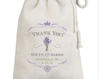 French Lavender Sachet Bags - Custom Wedding Favor Bags - Merci - Cotton Muslin Printed Bridal Shower Gift Bags