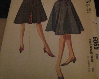 Vintage McCALL'S Pattern #6665...sz.Med 14-16..wRAP aROUND sKIRT ....1962....#28....
