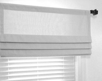 Lined Faux Roman Shade Gray White Ticking Stripe/ Custom Sizing Available!