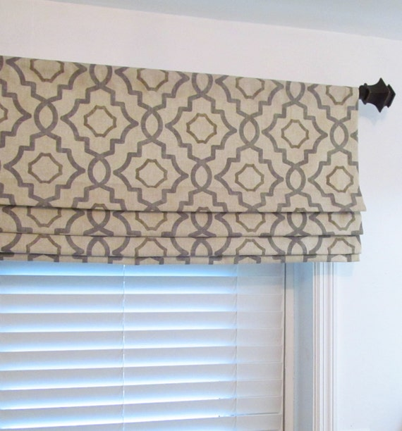 Faux roman shade lined mock valance gray beige geometric fake for Roman shades that hang from a curtain rod