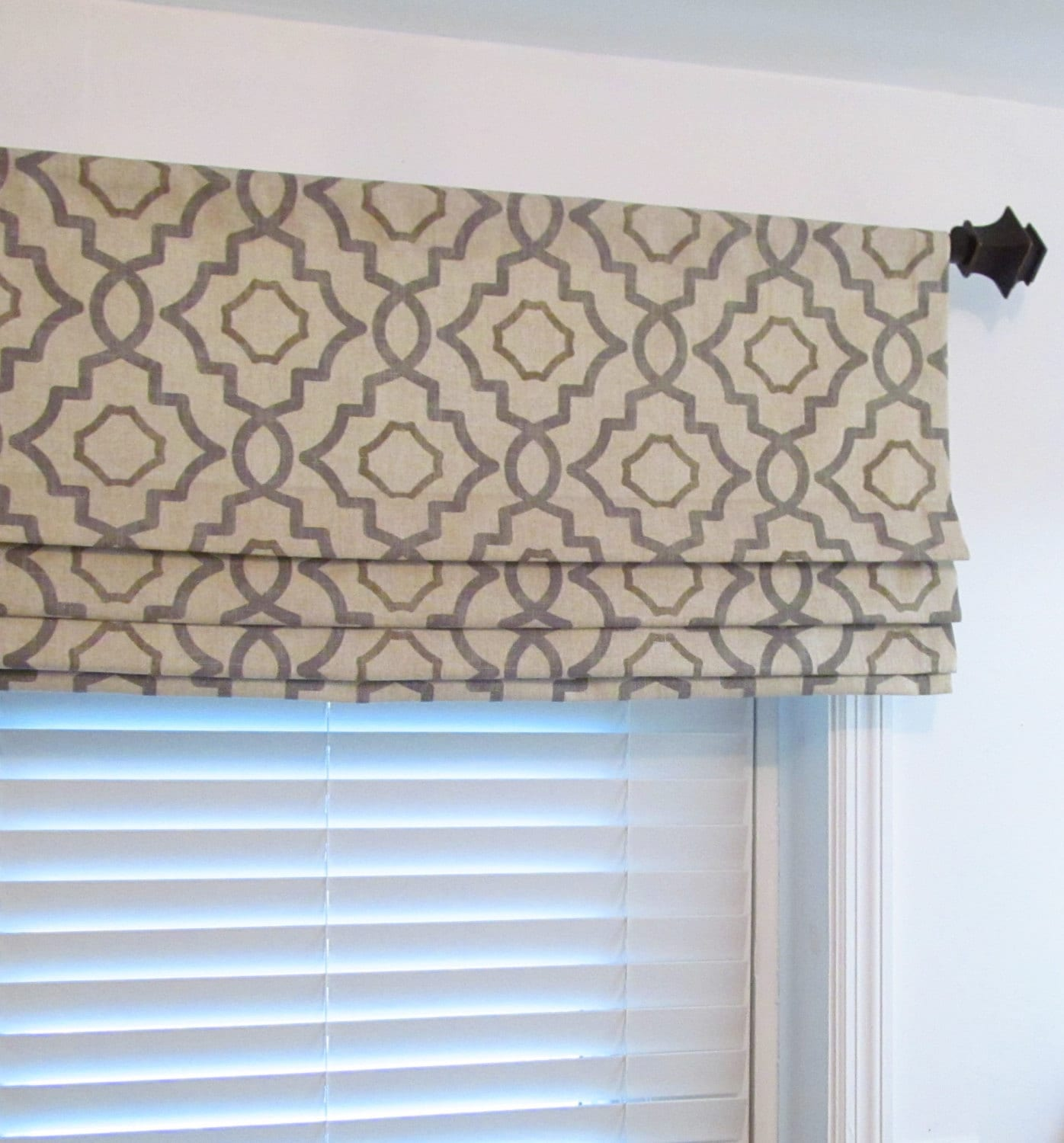 Kitchen Window Blinds Ideas Faux Roman Shade Lined Mock Valance Gray Beige Geometric Fake