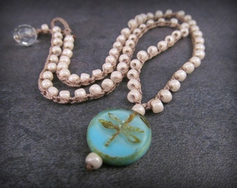 Bohemian Dragonfly Necklace, Pearl and Aqua Crochet, Boho Beach Jewelry