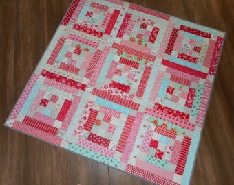 "Lap/Baby Quilt--Aqua, Red and Pink 50"" x 50"""