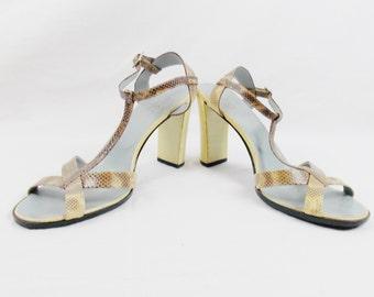 Vintage GUCCI TOM FORD Snake Skin Heels  Size 9.5 39.5