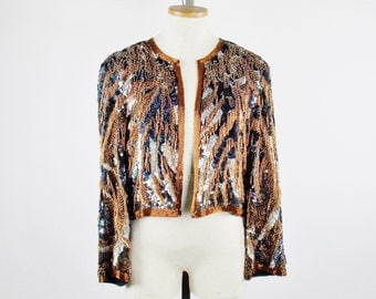 HALSTON BEADED SEQUIN Dramatic Slouchy Evening Loose fit Jacket Size 6-8  Jacket Only