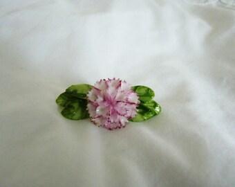 Vintage Royal Doulton ceramic pink carnation brooch 1980's