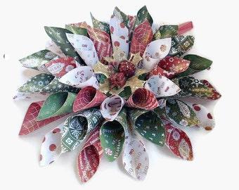 Christmas Paper Wreath, Wreath, Indoor Wreath, Christmas Wreath, Paper Wreath, Holiday Wall Decor, Decor, Christmas Decor, Holiday Decor