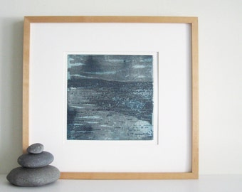 Contemporary Etching Print. Modern Original Intaglio: Strata 28 in Teal + Gray