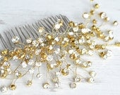 Dazzling Gold Rhinestone Hair Piece, Gold Vine hair piece, Bridal Hair Comb, Vintage bride, Large crystal Comb, Gold wedding hair accessory
