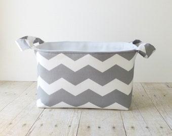 Fabric Storage Basket - Diaper Caddy - New Baby Gift - Storage Basket - Gray Chevron - Nursery Decor- Fabric Easter Basket