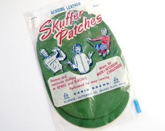 Genuine Leather Elbow Patches Skuffer Oval Green Perforated Vintage Sewing Supply 5 x 7