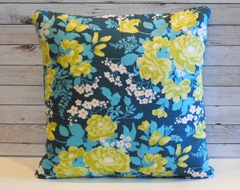 Blue yellow floral decorative pillow cushion cover. Shabby Chic cottage tropical. Window seat nursery bed.  Pillow cover for 20x20 insert.