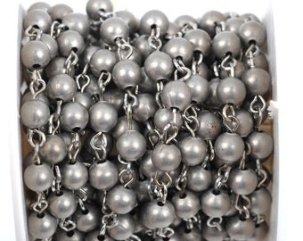 13 feet Matte Silver Round Bead Chain, Rosary Chain, Metal Ball Chain Beads are 6mm  fch0366b