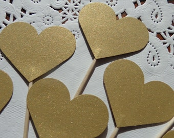 24 Metallic Gold Shimmer Heart Cupcake Toppers - Large Hearts - Food Picks - Party Picks -