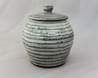 Gray Pottery Jar - Lidded Charcoal Gray Pottery Jar