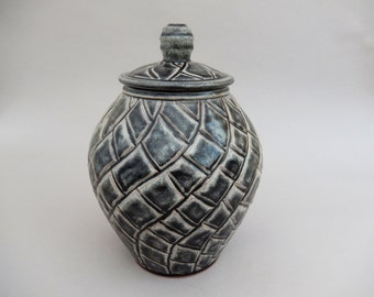 Black Pottery Jar - Lidded Charcoal Gray Pottery Jar