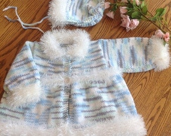 New hand knit faux fur sweater coat and hat