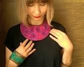 Purple embroidered silk and felt collar