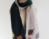 CASHMERE CABLED SCARF w Felt Leaves / Green & Tan / Ooak / Cashmere Lined w Super Soft Upcycled Cashmere / Eco  Scarf / Great Gift! #054