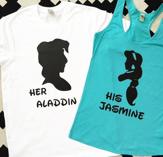JASMINE & ALADDIN - Silhouette Duo Shirts - baby, toddler, child, adult, couple, disney disneyland disney world custom princess