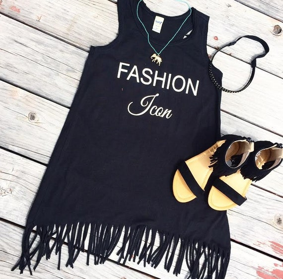 FASHION ICON Fringe Tank Dress- baby, toddler, child, girl, fashion, bohemian trendy