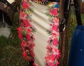 pink white Caribbean tropical Hawaiian tango pom pom fru fru side slits Lycra skirt uk size 8 10