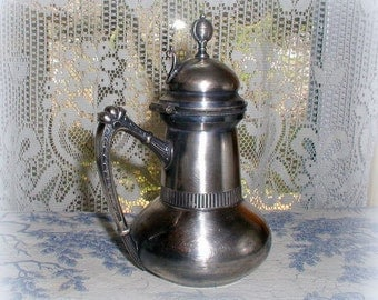 Vintage Victorian Silver Syrup Pitcher Quadruple Plate Antique Tabletop Serving Wm Rogers Mfg. Co.