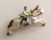 "Horseback Riding Brooch for Collectors or Riders 1 1/4"" x 1/2"" Finishing Piece for Outfit Tote Purse Hat Scarf or Wedding Bouquet"