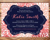 Baby shower invitation, floral baby shower Invitation, boy, girl, baby Shower Invite, navy, coral, gray, 1613