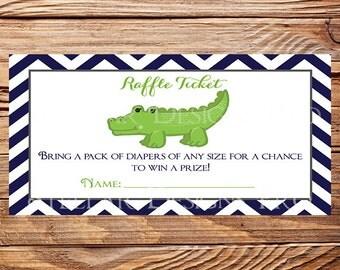 Alligator Diaper Raffle, Navy Green Alligator Diaper raffle ticket, Raffle ticket, As is, instant download - 1PDF 8.5x11, 1007