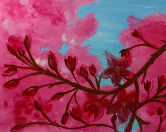 "Cherry Tree Painting, Spring Blossom Art, Acrylic Painting, Modern Canvas, Flowers Painting, Contemporary Art, Modern Art, 18x24"" Artwork"
