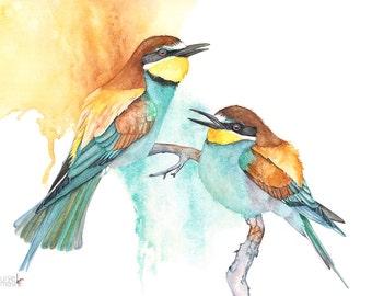 Bee Eater ORIGINAL watercolor painting, Original bird watercolor painting, Original painting. Wildlife art