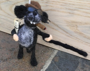 Curmudgeon Mouse Needle Felted Handmade Special Gift