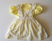 1980's Yellow Dress & Removable Pinafore (6x)