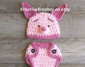 Piglet Hat & Diaper Cover Set, inspired by Winnie the Pooh - Newborn