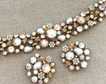 Rhinestone Bracelet Earrings Set - Signed CLAUDETTE Pearl Bracelet Set - Vintage Rhinestone Bracelet Jewelry Set